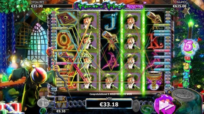 Fruity Casa featuring the Video Slots Merlin's Magic Respins Christmas with a maximum payout of $10,000