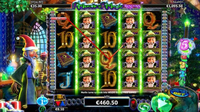 Dragonara featuring the Video Slots Merlin's Magic Respins Christmas with a maximum payout of $10,000