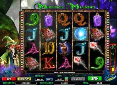 Merlin's Millions :: Main game board featuring five reels and fifty paylines