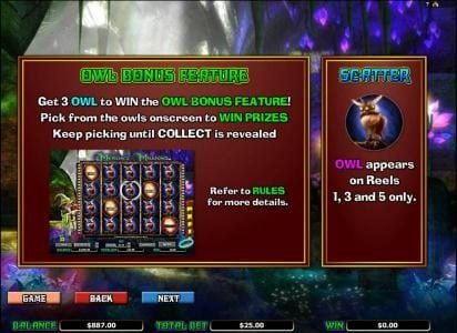 Merlin's Millions :: owl bonus feature rules and scatter symbol