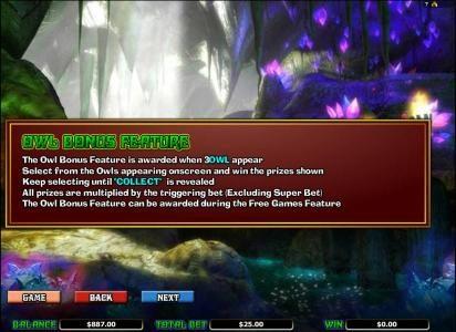 Merlin's Millions :: owl bonus feature rules