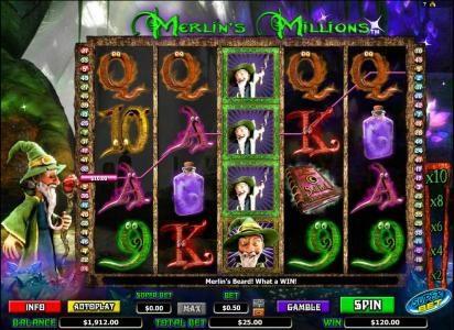 Merlin's Millions :: wilds trigger $120 jackpot