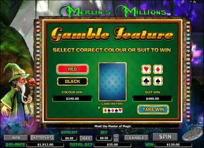 Sapphire Rooms featuring the Video Slots Merlin's Millions with a maximum payout of $2,000