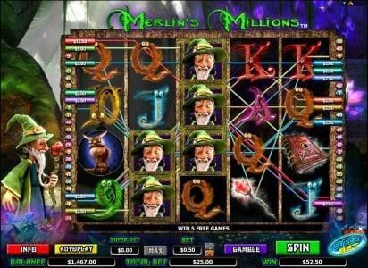 Merlin's Millions :: multiple winning paylines trigger a $52.50 jackpot