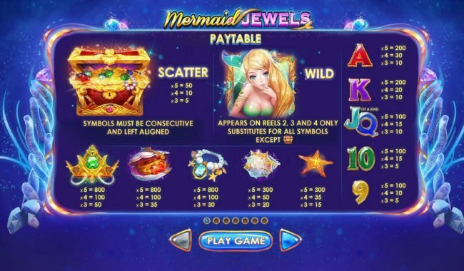Mermaid Jewels :: Paytable