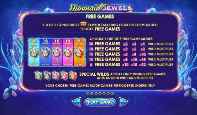 Mermaid Jewels :: Free Games Bonus Rules