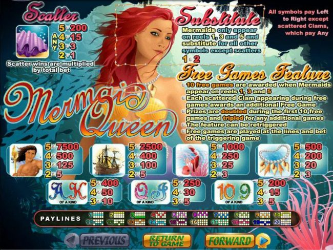 Mermaid Queen :: Slot game symbols paytable featuring mermaid themed  icons.