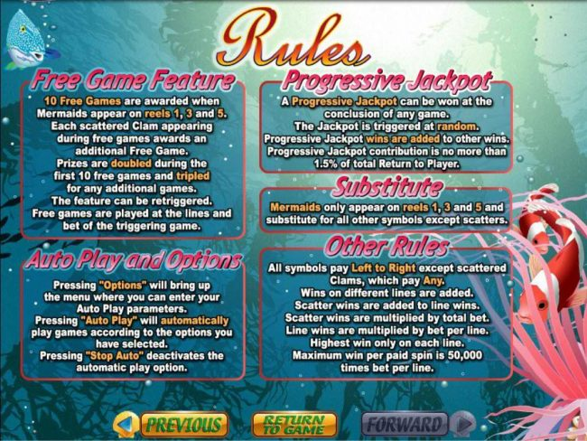 Mermaid Queen :: Free Games, Progressive Jackpots and General Game Rules.