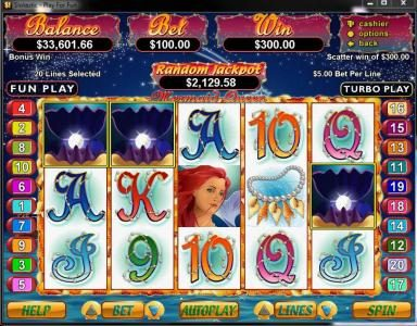 Bovegas featuring the Video Slots Mermaid Queen with a maximum payout of $250,000