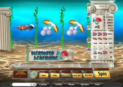 Lake Palace featuring the Video Slots Mermaid Serenade with a maximum payout of 10,000x