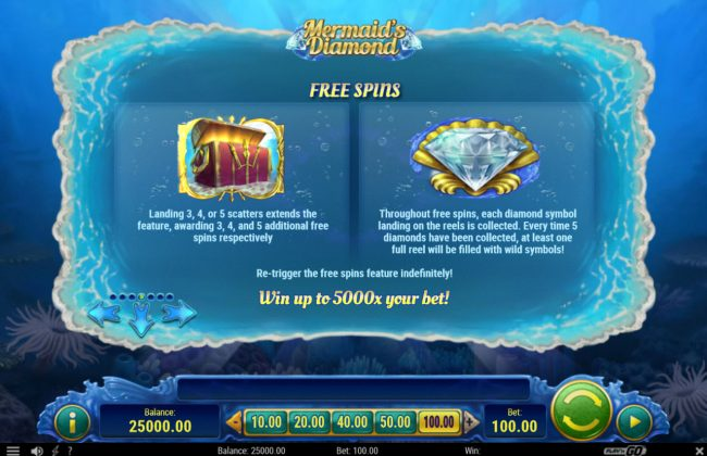 Casino Club featuring the Video Slots Mermaid's Diamond with a maximum payout of $500,000