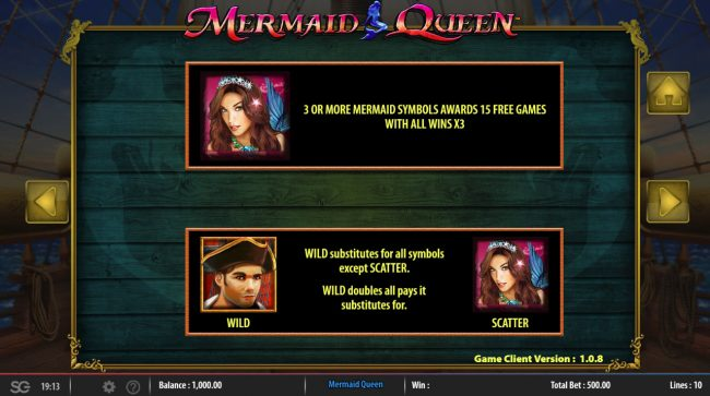 Mermaids Queen :: Wild and Scatter Symbol Rules