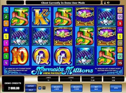 Play slots at Vegas Seven: Vegas Seven featuring the Video Slots Mermaids Millions with a maximum payout of $37,500