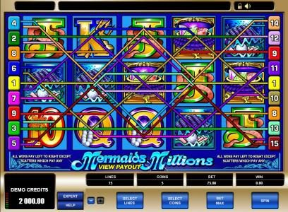 Rich Reels featuring the Video Slots Mermaids Millions with a maximum payout of $37,500