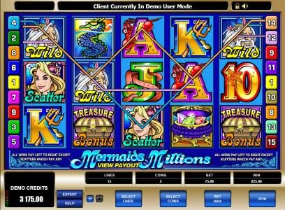 Intercasino featuring the Video Slots Mermaids Millions with a maximum payout of $37,500
