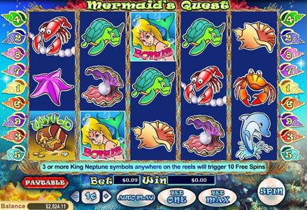 Play slots at Liberty Slots: Liberty Slots featuring the Video Slots Mermaid's Quest with a maximum payout of $100,000