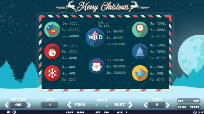 VipSpel featuring the Video Slots Merry Christmas with a maximum payout of $50,000