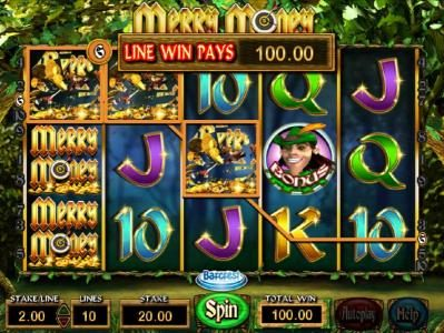 Lucky Dino featuring the Video Slots Merry Money with a maximum payout of $250,000