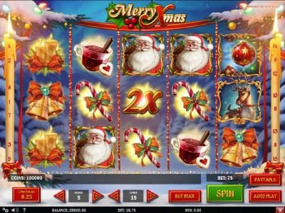 Jellybean Casino featuring the Video Slots Merry Xmas with a maximum payout of $3,125