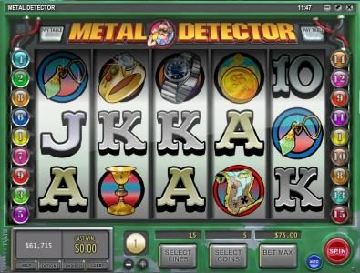 Casino Royal Club featuring the Video Slots Metal Detector with a maximum payout of $10,000