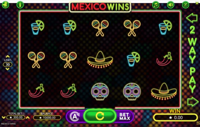 Videoslots featuring the Video Slots Mexico Wins with a maximum payout of $15,000