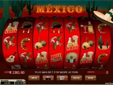Mexico :: Main game board featuring seven reels and 14 paylines with a $480 max payout