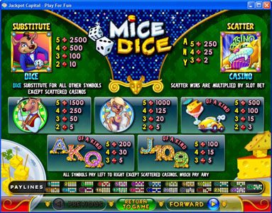 Slots of Vegas featuring the Video Slots Mice Dice with a maximum payout of $250,000