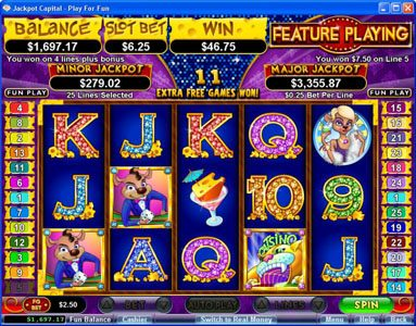 Slotsville featuring the Video Slots Mice Dice with a maximum payout of $250,000