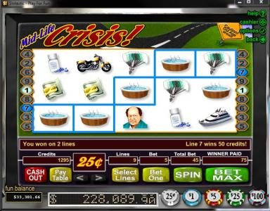 Sun Palace featuring the video-Slots Mid-Life Crisis with a maximum payout of Jackpot