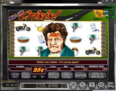 Fair Go featuring the video-Slots Mid-Life Crisis with a maximum payout of Jackpot