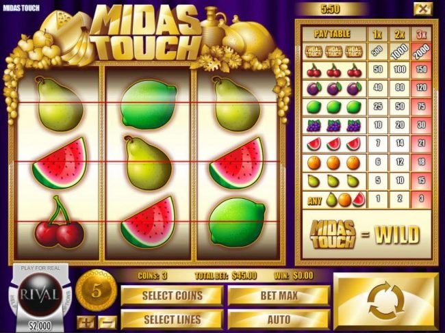 Slots Jackpot featuring the Video Slots Midas Touch with a maximum payout of $10,000