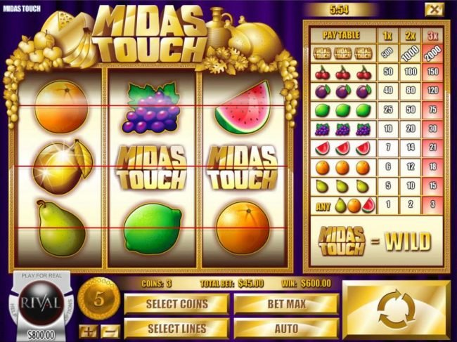 Vegas2Web featuring the Video Slots Midas Touch with a maximum payout of $10,000