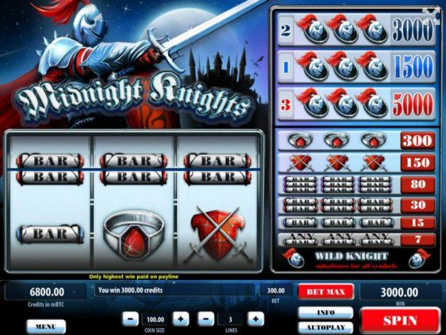 Midnight Knights :: A winning Three of a Kind awards a 3000.00 jackpot.