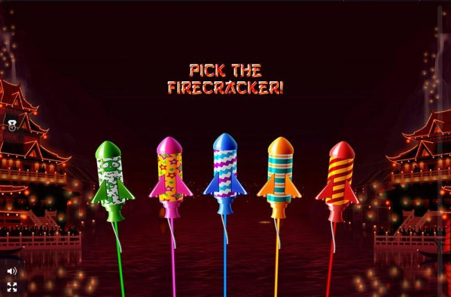 Pick a firecracker to reveal a prize.