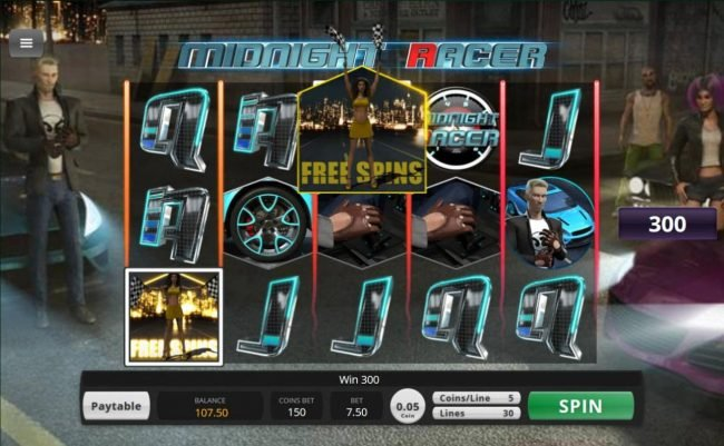 Jumba Bet featuring the Video Slots Midnight Racer with a maximum payout of $156,000