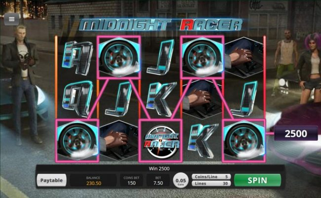 Grand Eagle featuring the Video Slots Midnight Racer with a maximum payout of $156,000