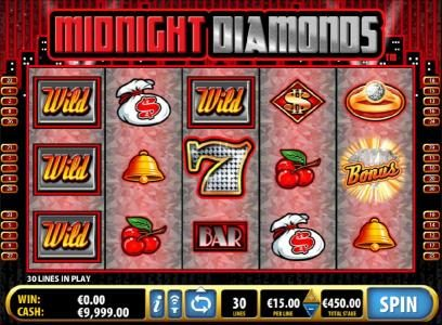 Midnight Diamonds :: Main game board featuring five reels and 30 paylines with a $9,000 max payout