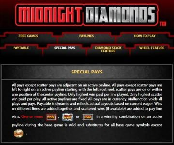 Midnight Diamonds :: Special Pays Rules