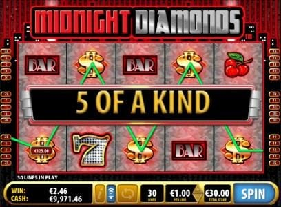 Midnight Diamonds :: Five of a Kind triggers a $125 payout