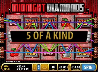 Midnight Diamonds :: Multiple winning paylines and five of a kinds lead to a big win.