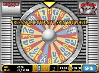 Midnight Diamonds :: Bonus Game Wheel - prees to spin the wheel for a chance to win free games or a multiplier
