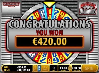 Midnight Diamonds :: Landing on an 14x multiplier during the bonus game leads to an awesome $420 big win!