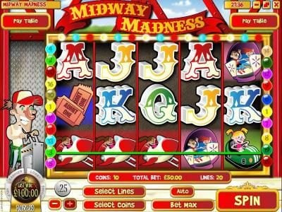 CoCoa featuring the Video Slots Midway Madness with a maximum payout of $37,500