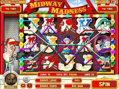 Mayan Fortune featuring the Video Slots Midway Madness with a maximum payout of $37,500