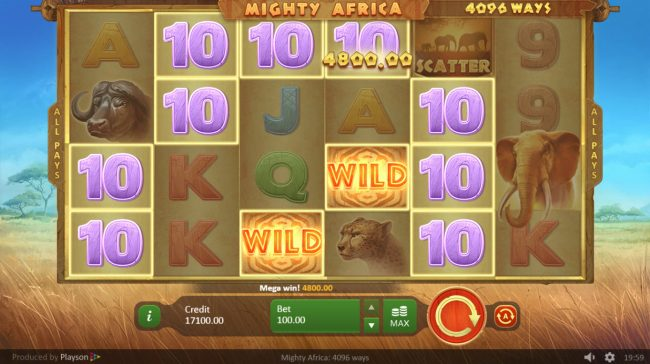 Triple Aces featuring the Video Slots Mighty Africa with a maximum payout of $500,000
