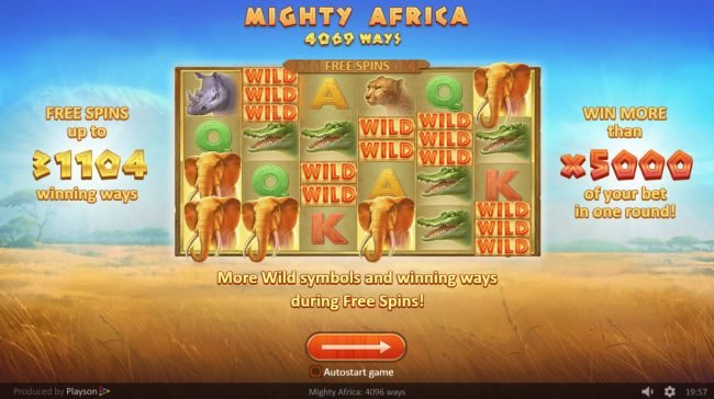 Africa Casino featuring the Video Slots Mighty Africa with a maximum payout of $500,000