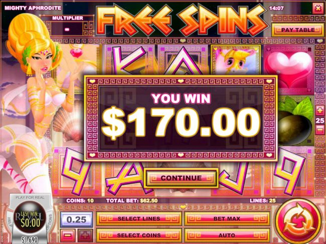 21 Dukes featuring the Video Slots Mighty Aphrodite with a maximum payout of $12,500