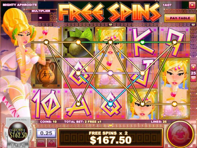 Bodog featuring the Video Slots Mighty Aphrodite with a maximum payout of $12,500