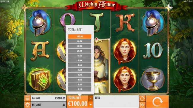 Amsterdam Casino featuring the Video Slots Mighty Arthur with a maximum payout of $15,000