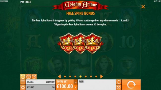Spin Station featuring the Video Slots Mighty Arthur with a maximum payout of $15,000